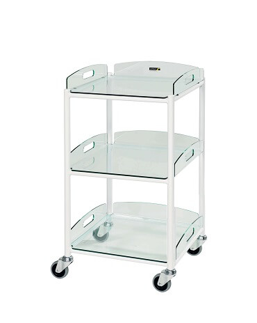 DT4 Dressing Trolleys with Glass Effect Safety Trays