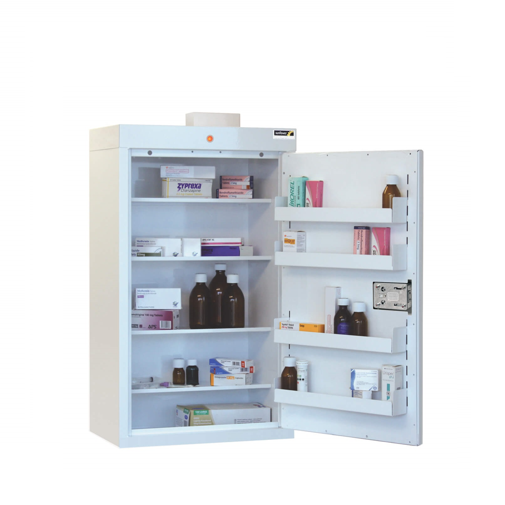 Medicine Cabinet   4 Shelves/4 Door Trays/1 Door [Sun MC6
