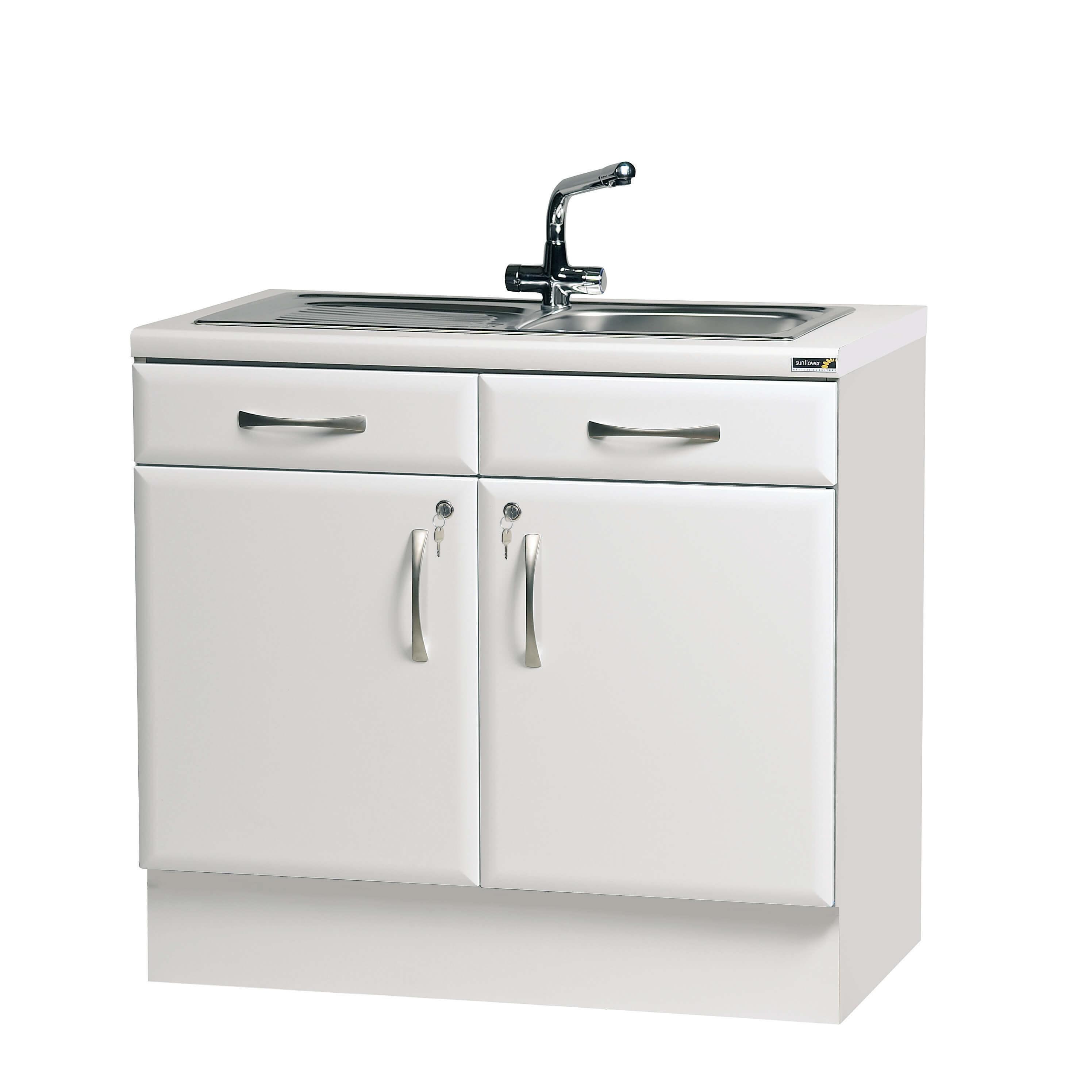 100cm Sink Cabinet - White High Gloss Finish [Sun-BU6W ...