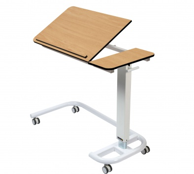 Overbed/Overchair Table with C-Shaped Base, Tilting Top with 1 Retaining Lip [Sun-OBT4C/CM/1LT]