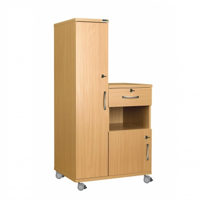 Left Hand Bedside Cabinet Combination Unit with Locks - Laminate Faced MDF Material [Sun-CBHBC4-LFMDF-LOCKS]
