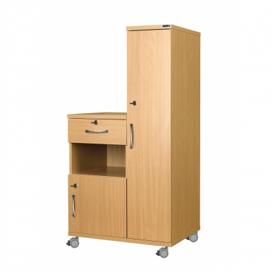 Right Hand Bedside Cabinet Combination Unit with Locks - Laminate Faced MDF Material [Sun-CBHBC5-LFMDF-LOCKS]