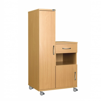 Left Hand Bedside Cabinet Combination Unit - Laminate Faced MDF Material [Sun-CBHBC4-LFMDF]