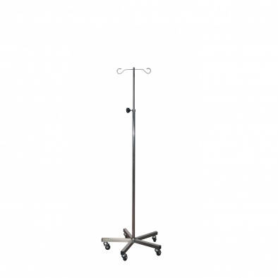 Brushed Stainless Steel Drip Stand and Base - 2 Chrome Hooks, Anti-static Castors [Sun-IV06 ]