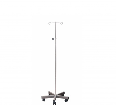 Brushed Stainless Steel Drip Stand with Weighted Base - 2 Chrome Hooks, Anti-static Castors [Sun-IV08]