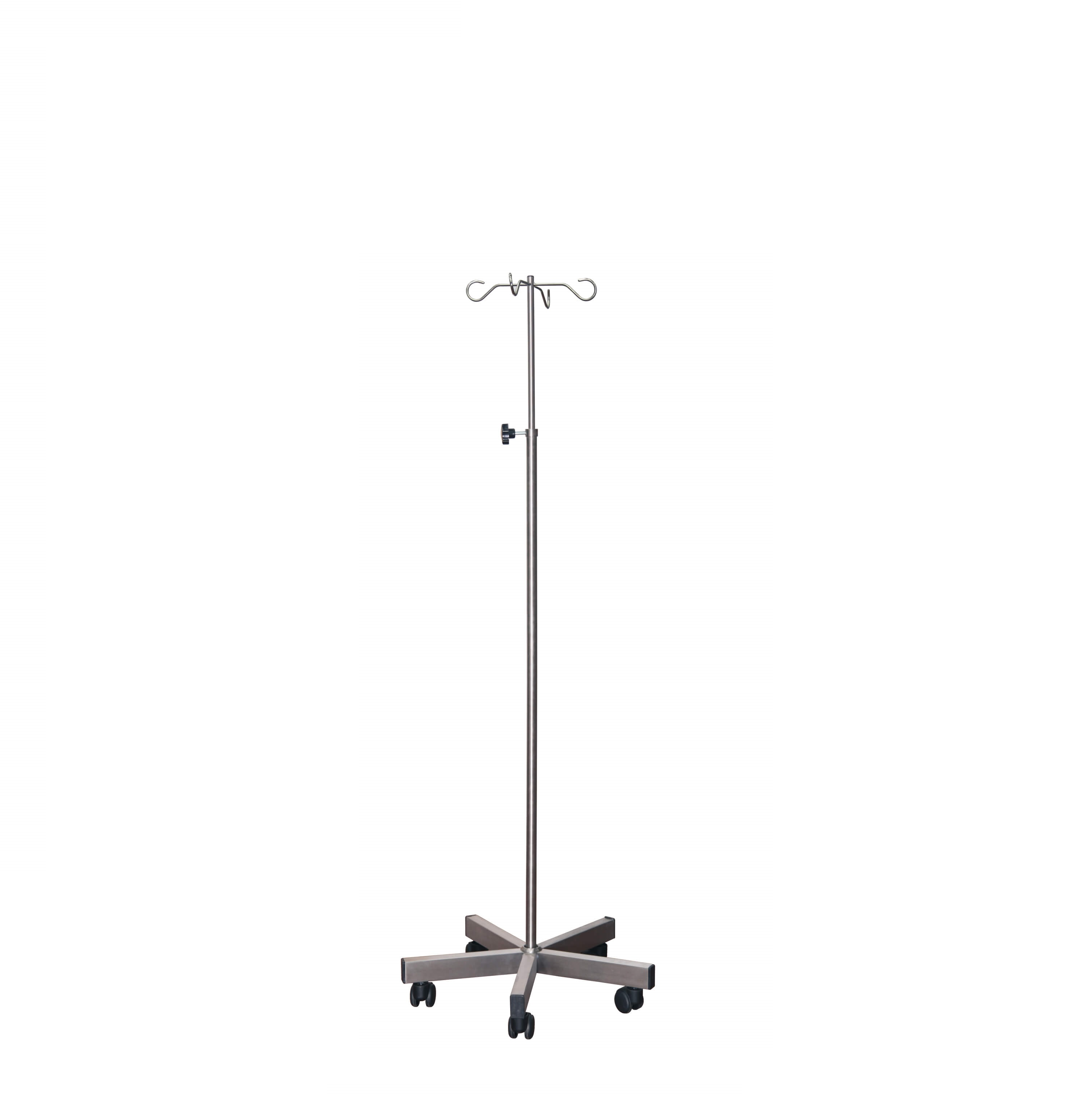 Brushed Stainless Steel Drip Stand with Weighted Base - 4 Chrome Hooks, Anti-static Castors [Sun-IV09]