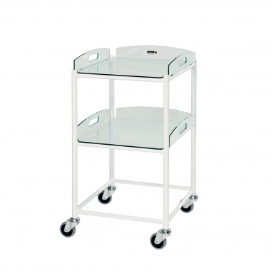 Dressing Trolley, 2 Glass Effect Safety Trays [Sun-DT4G2]