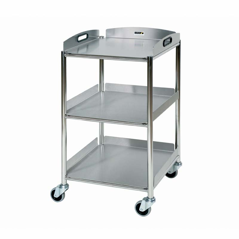 Surgical Trolley, 3 Stainless Steel Trays [Sun-ST4S3]