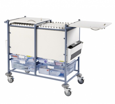 Medical Notes Trolley (Large) - Enclosed sides with hinged locking tops [Sun-MNT20]