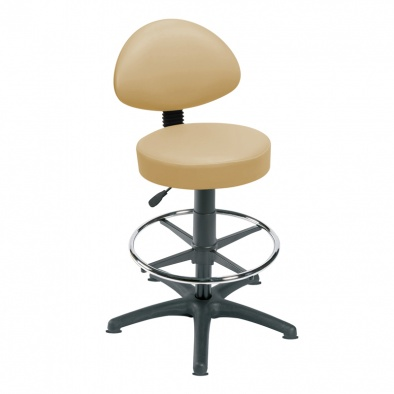 High Level Gas Lift Stool, Back Rest, Foot Ring, Glides [Sun-STO5]