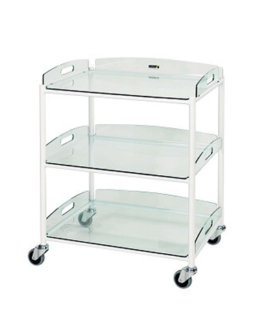DT6 Dressing Trolleys with Glass Effect Safety Trays