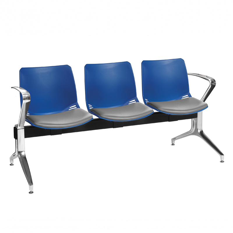 Neptune Visitor 3 Seat Module with 3 Grey Vinyl Upholstered Seat Pads [Sun-SEAT73/3/VYL/GREY]
