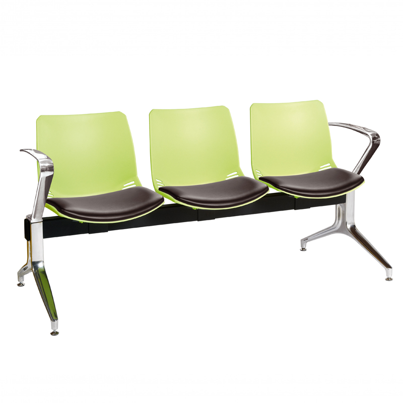 neptune visitor 3 seat module with 3 black vinyl upholstered seat
