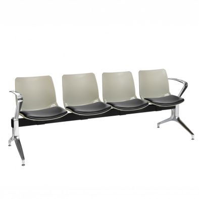 Neptune Visitor 4 Seat Module with 4 Black Vinyl Upholstered Seat Pads [Sun-SEAT74/4/VYL/BLACK]