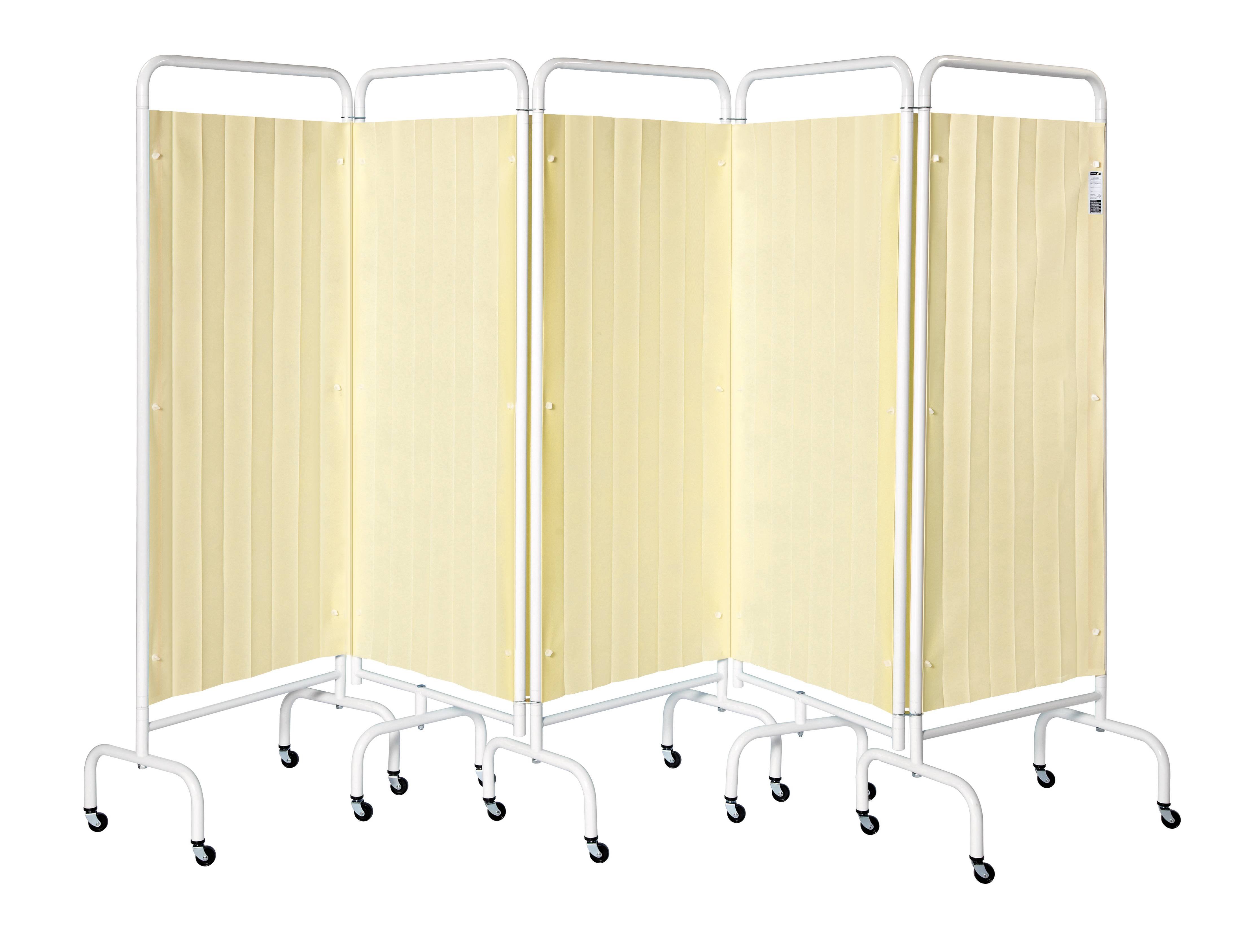 5 Panel Mobile Folding Curtained Screen