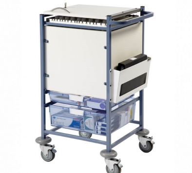 Medical Notes Trolley (Small) - Enclosed sides with hinged locking top [Sun-MNT10]