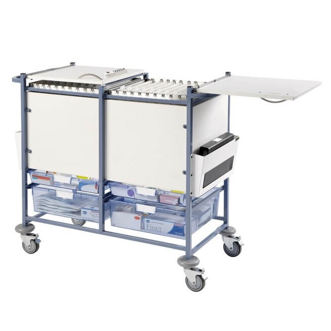 Medical Notes Trolley (Large) - Enclosed Sides with Hinged Top and 2 Digital Combination Locks [Sun-MNT20-DCL]